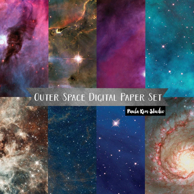 Outer space backgrounds digital paper instant download for Outer space paper