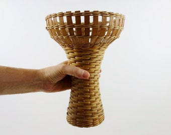 Big Vintage Wicker and Wood Candle Holder