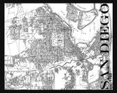 San Diego Street Map Vintage Print Poster Title Map