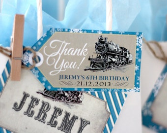 Polar Express Party Favor Thank You Tags - INSTANT DOWNLOAD - Editable & Printable Christmas Party Decorations by Sassaby Parties