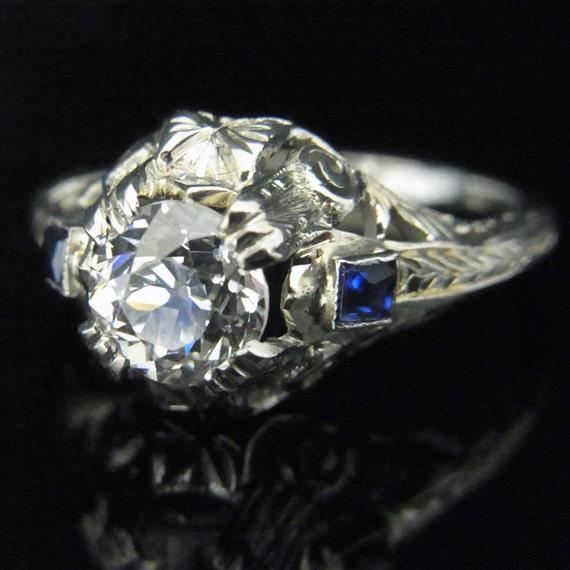 Art Deco Old Cut VS2 H 95ct Diamond Sapphire 20k by sohojewelers