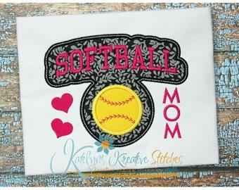 Softball Mom - Block Arc Applique