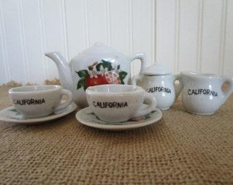 Vintage Porcelain Souvenir of California Toy Tea Set