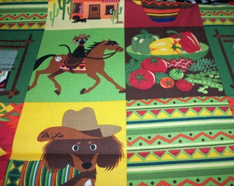 Mexican Theme Fabric Colorful Blocks Old Mexico Symbols Nice  Fat Quarter New BTFQ
