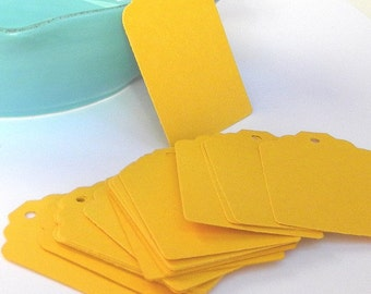 150 Paper Tags in rich yellow  - gift tags - wedding tags - blank tags - favor tags - hang tags - yellow tags
