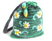 "Felt bag/pouch ""Jasmine"", pure wool, crochet, felted, green, charcoal, black, white, jade green, yellow, flower, floral, OOAK, one of a kind"