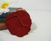 Vintage Fabric Needle & Pin Cushion Book Keeper - Retro Sewing Pins / Needle Holder - Red Suede with Muslin Handmade Needle Keeping Booklet