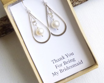 Sterling Silver Pearl Drop Earrings with Sentiment Card --Bridesmaids Gift