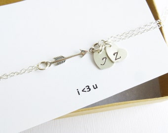 Sterling Silver Arrow Bracelet with Initial Hearts on Sentiment Card -- Personalized
