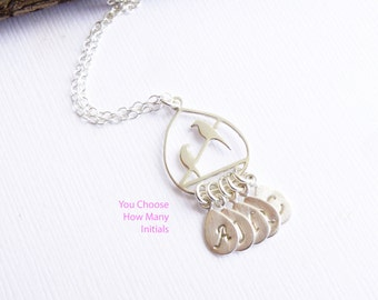 Sterling Silver Birds On a Branch Necklace -- You Choose How Many Initials -- Family Tree