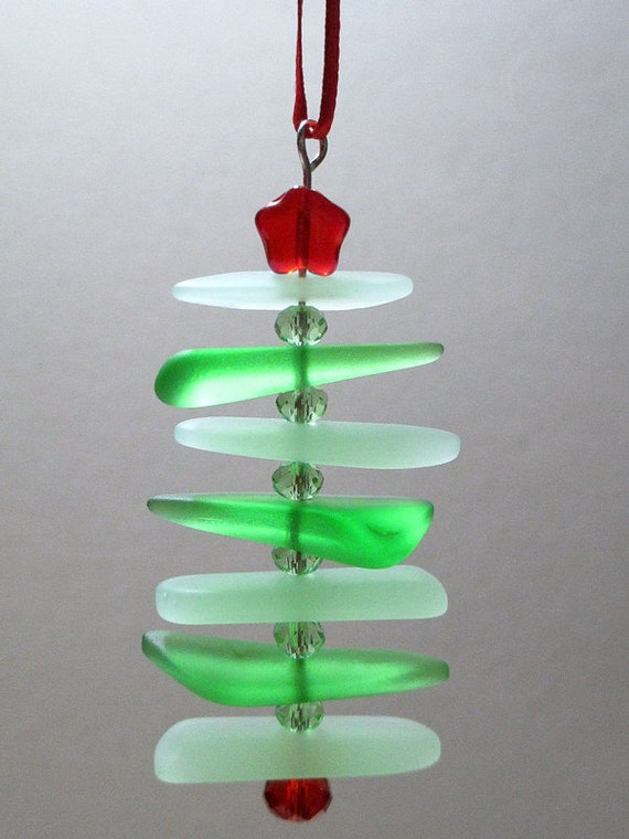 Recycled sea glass christmas tree ornament by itsacolorfullife