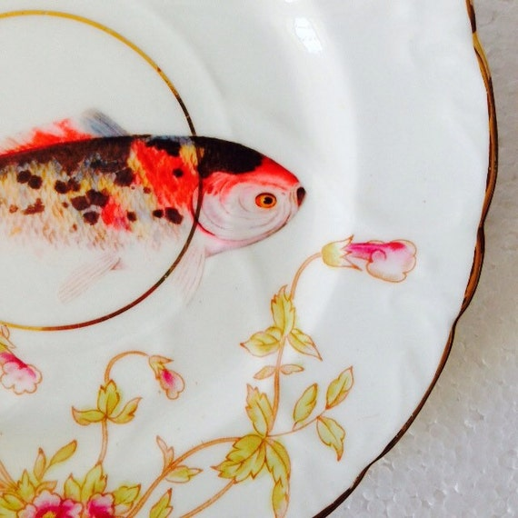 Rainbow koi carp fish vintage pink floral china saucer for Rainbow koi fish