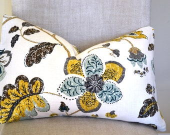 Decorative Throw Pillow, 14 by 22 in Spring Mix Aloe by Robert Allen(Cover only)  floral print  mustard gold,charcoal grey,sage, teal brown