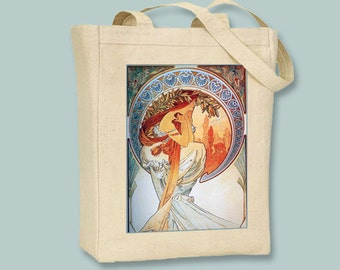 """Alphonse Mucha's """"Poetry"""" Print Black or Natural Canvas Tote - Selection of Sizes Available"""