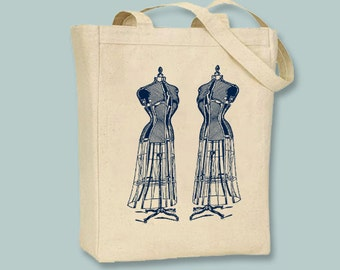 Fun Vintage Dress Forms Illustration Tote - Selection of sizes available and ANY COLOR IMAGE