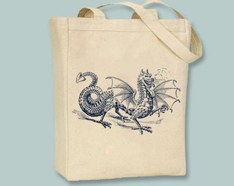 Medieval Dragon Drawing Canvas Tote - Selection of sizes available, ANY COLOR image