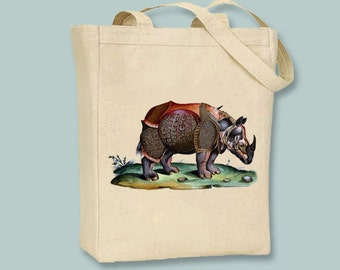 Gorgeous Italian Rhinoceros Vintage Color Engraving Canvas Tote - Selection of sizes available