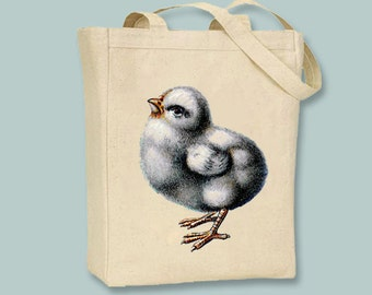 Adorable Vintage Chick Illustration Canvas Tote - selection of sizes available