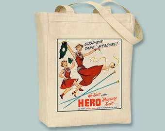 Vintage Knitting Ad on NATURAL or BLACK canvas tote -- selection of sizes available