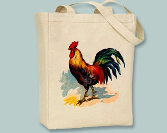 Vintage Rooster Illustration Canvas Tote - Selection of sizes colors available