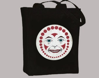 Vintage Clown Face illustration Natural or Black Canvas Tote -- Selection of sizes available