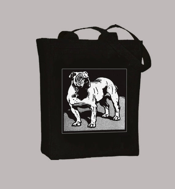 Vintage Bulldog Illustration Black or Natural CanvasTote - Selection of sizes available