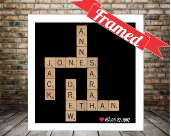 Personalized Family Gift FRAMED Scrabble Art Family Name Art Housewarming Gift Unique Family Gift Custom Family Gift Special Family Gift