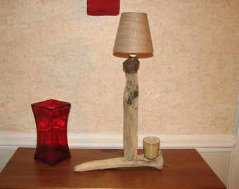 Driftwood Lamp with Burlap Shade and Candle with Holder