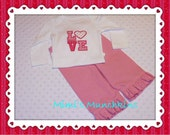 Bodysuit and Pants Set / Machine Appliqued LOVE design / 6 months / Ready to Ship