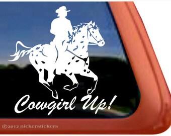 Cowgirl Up! | DC669CGU | High Quality Adhesive Vinyl Appaloosa Horse Window Decal Sticker