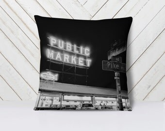 Seattle Pillow, Pike Place Market Pillow Cover, Black and White Home Decor, Black and White Pillow - 16x16, 18x18, or 20x20 Throw Pillow