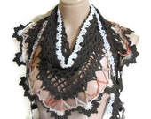 crochet flower scarf, hand-knitted, fashion 2014, unique gifts, Women scarf, Brown accessories
