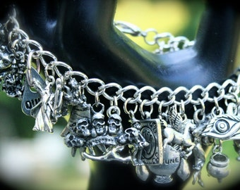 Myth & Magick Theme Charm Bracelet - Legends - Witch - Folklore - Dark Magic - Mystery - Gypsy - Voodoo - Vampire - Werewolf - Gargoyle