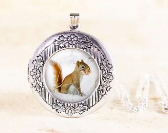Red Squirrel Locket - Silver Animal Locket, Woodland Squirrel Jewelry Locket, Nature Locket, Squirrel Animal Jewelry, Animal Photo Locket