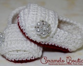 Vintage Red and White Baby Girl Shoes with Pearl Embellishment-Baby Girl Slippers with Pearls- Baby Girl Loafers Booties-Newborn Photo Prop