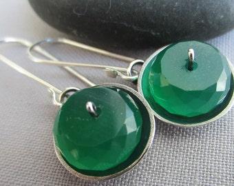 SALE 20% OFF/ Silver Earrings/ Emerald Green Onyx Earrings/ Oxidized Silver Earrings/ Minimalist Earrings/ Artisan Earrings/