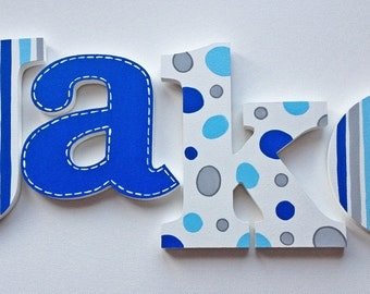 Grey & Blue Stripes, Polka Dots and Stitched Wooden Wall Name Letters / Hangings, Hand Painted for Boys Rooms, Play Rooms and Nursery Rooms