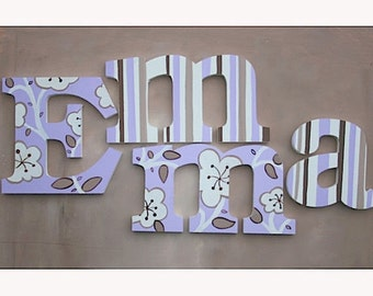 Lilac Flowers Wooden Wall Name Letters / Hangings, Hand Painted for Girls Rooms, Play Rooms and Nursery Rooms
