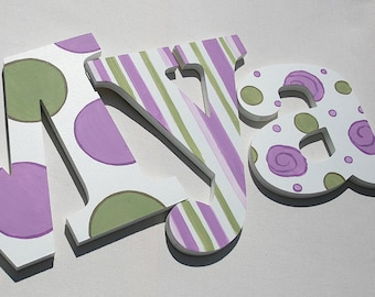 Lavender Sage Pattern Wooden Wall Name Letters / Hangings, Hand Painted for Girls Rooms, Play Rooms and Nursery Rooms