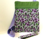 Floral Crossbody Bag, Handmade Purse, Purse with Zipper, Fabric Key Fob, Purple Flowers, Travel Purse, Hipster Bag, Shoulder Bag