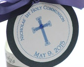 Elegant Cross Baptism-Communion Circular  Favor Tags