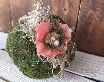 Vintage coral and moss headband