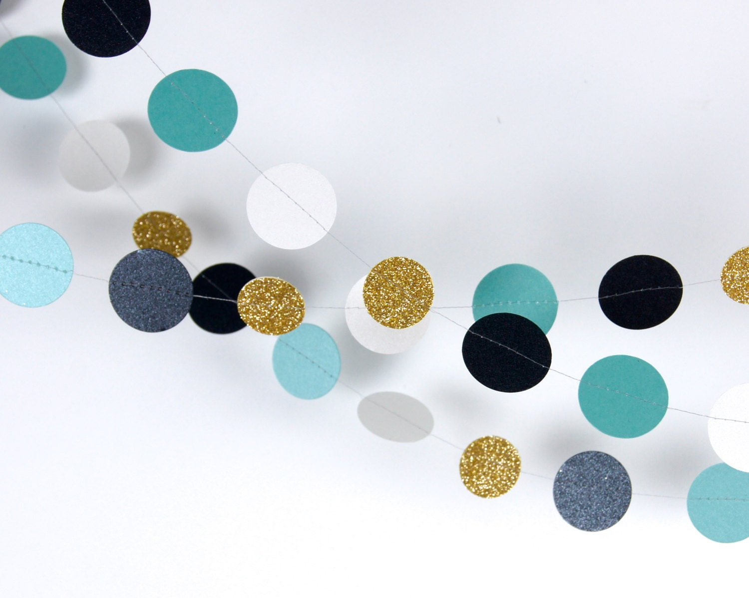 White And Gold Decor Paper Garland In Teal Black White And Gold 20 Colors It Is