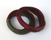 Set of  2 Leather Bangles in Earth Tone Color  Combinations, Minimalist Accessories, Casual, Urban Style, Simple and Chic