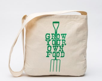 Screen Printed Organic Cotton Cross Body Bag - Large Canvas Grocery Bag - Grow Your Own Food
