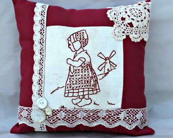 Vintage Red Work Little Girl Pillow