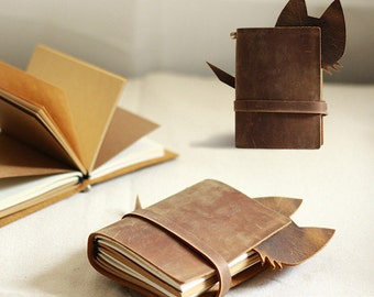 Cat leather Journal Traveler's Notebook   Leather Notebook Refillable retro leather notebook with gift box