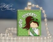 Girl Scouts (3) brunette Hair :Jewelry pendant/charm necklace handmade by frilly chili. Art charm Jewelry gift or present.
