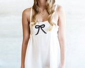 Silk Romper One Piece Teddy Lingerie Lounge / Bride White Black Silk Lace Sheer Bow / NIGHT GARDEN Deco Romper - Moon Flower