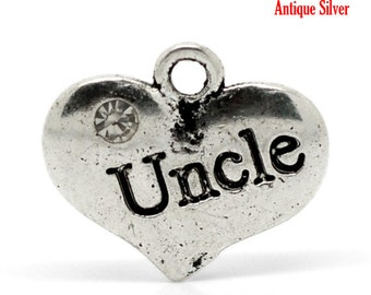 "20 Antique Silver Rhinestone ""Uncle"" Heart Charm Pendant 16x14mm  chs1539b"